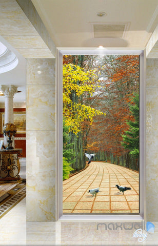 3D Autumn Forest Road Corridor Entrance Wall Mural Decals Art Print Wallpaper 043