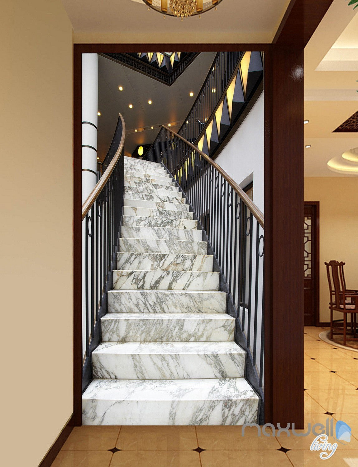 3d modern marble stairs corridor entrance wall mural decals art print idecoroom. Black Bedroom Furniture Sets. Home Design Ideas