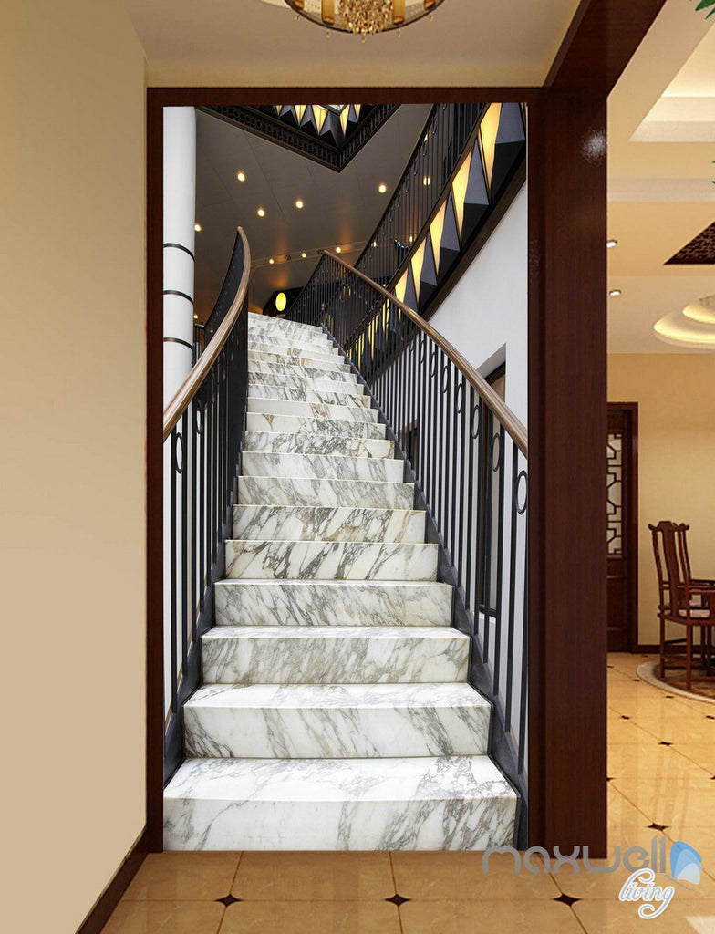 3D Modern Marble Stairs Corridor Entrance Wall Mural Decals Art Print Wallpaper 044