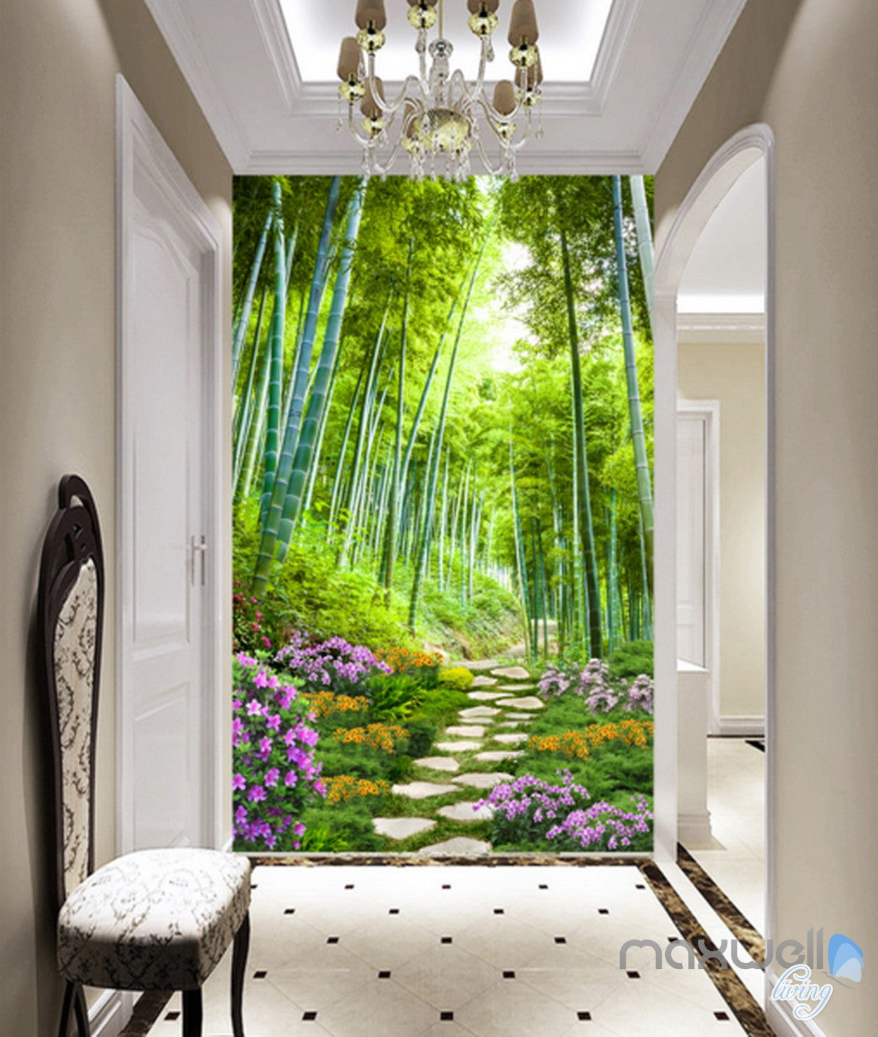 Design Wall Mural Decals 3d bamboo forest flower corridor entrance wall mural decals art print wallpaper 047