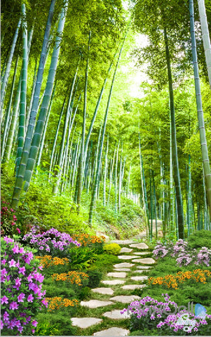 Image of 3D Bamboo Forest Flower Corridor Entrance Wall Mural Decals Art Print Wallpaper 047