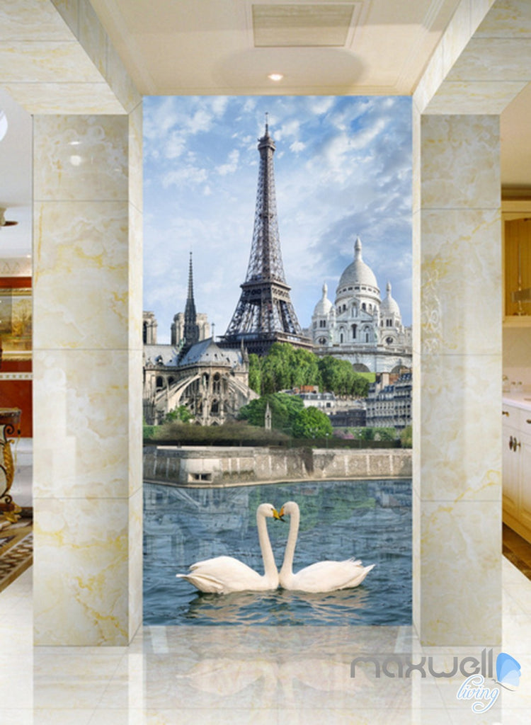 3D Paris Tower Swan Corridor Entrance Wall Mural Decals Art Print Wallpaper 049