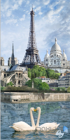 Image of 3D Paris Tower Swan Corridor Entrance Wall Mural Decals Art Print Wallpaper 049