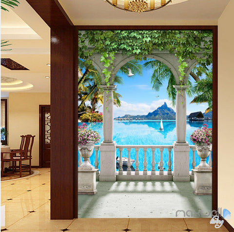 Image of 3D Pillar Balcony Palm Tree Corridor Entrance Wall Mural Decals Art Print Wallpaper 052