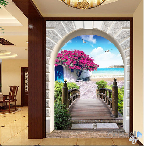 3D Flower Blossom Tree Bridge Corridor Entrance Wall Mural Decals Art Print Wallpaper 053