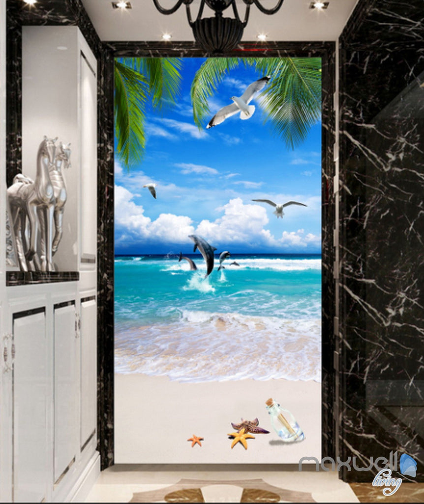 3D Tropical Island Beach Dophin Corridor Entrance Wall Mural Decals Art Print Wallpaper 057