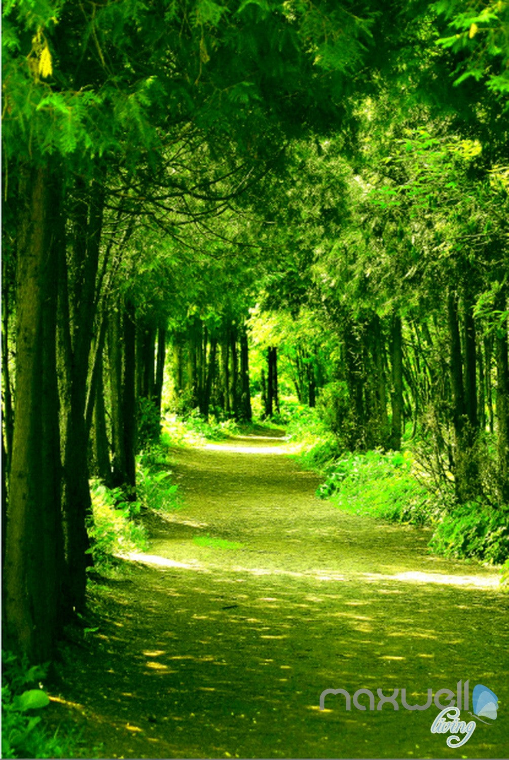 3d green forest sunbeam corridor entrance wall mural decals art print wallpaper 060