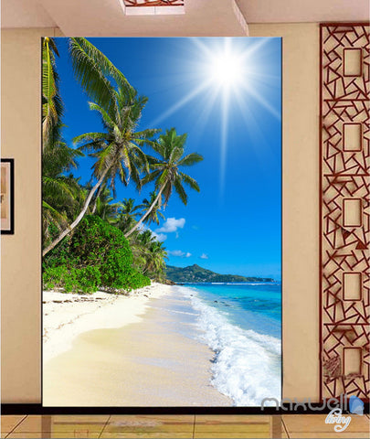 Image of 3D Tropical Island Palm Tree Beach Corridor Entrance Wall Mural Decals Art Print Wallpaper 063