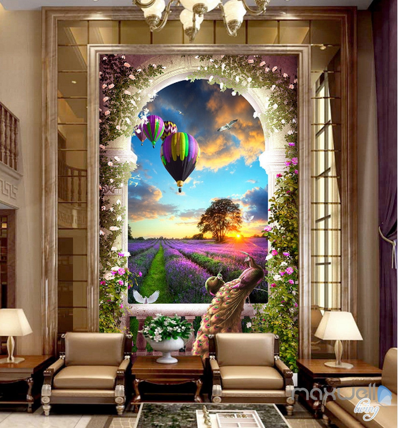 3d balcony peacock hot airbaloon lavender corridor for Digital print wallpaper mural