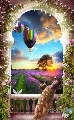 Image of 3D Balcony Peacock Hot Airbaloon Lavender Corridor Entrance Wall Mural Decals Art Print Wallpaper 064