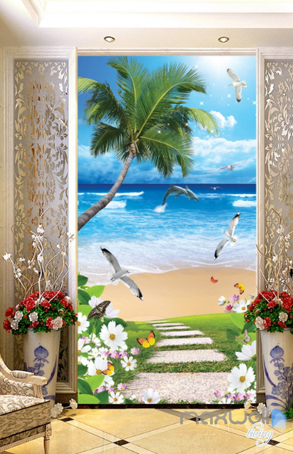 3D Butterfly Flower Palm Tree Beach Corridor Entrance Wall Mural Decals Art  Print Wallpaper 065