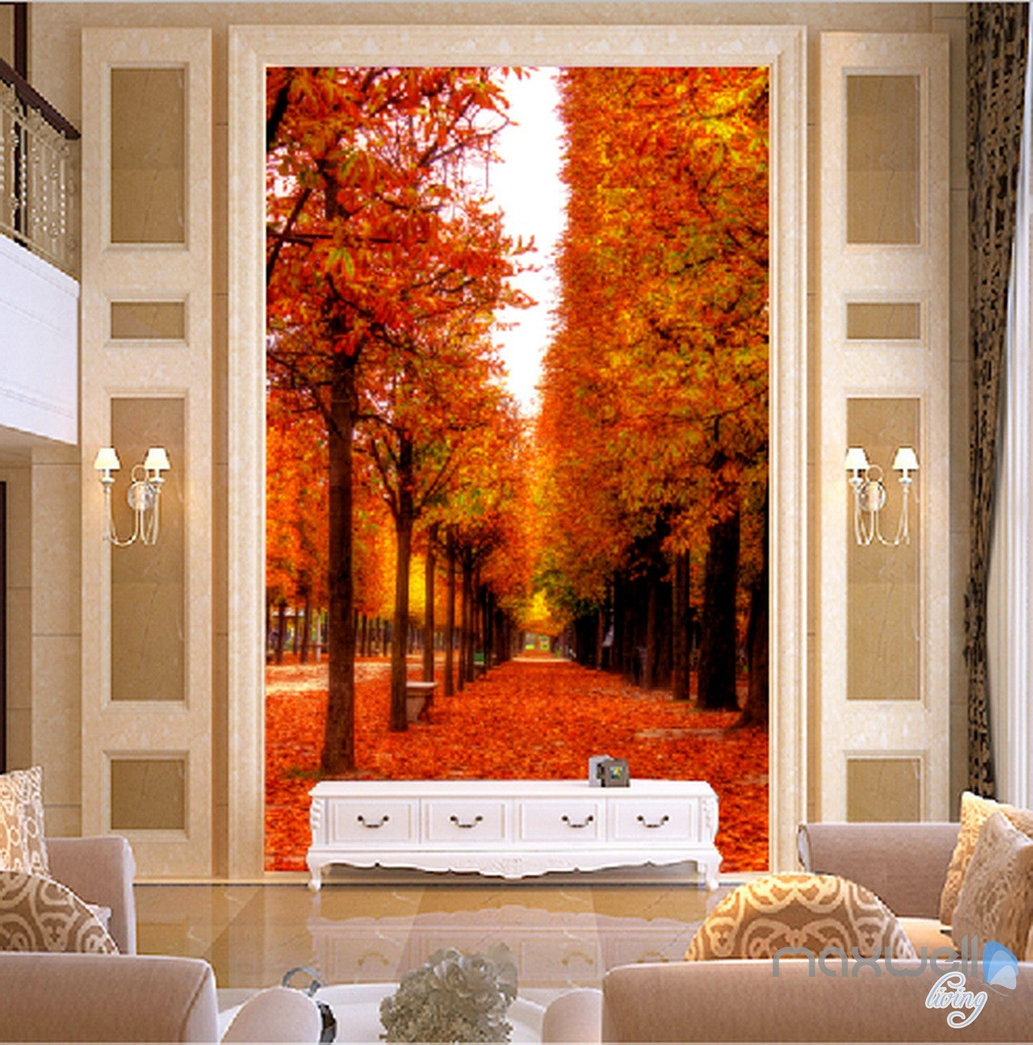 3D Leaves Fall Tree Corridor Entrance Wall Mural Decals Art Print Wallpaper  068