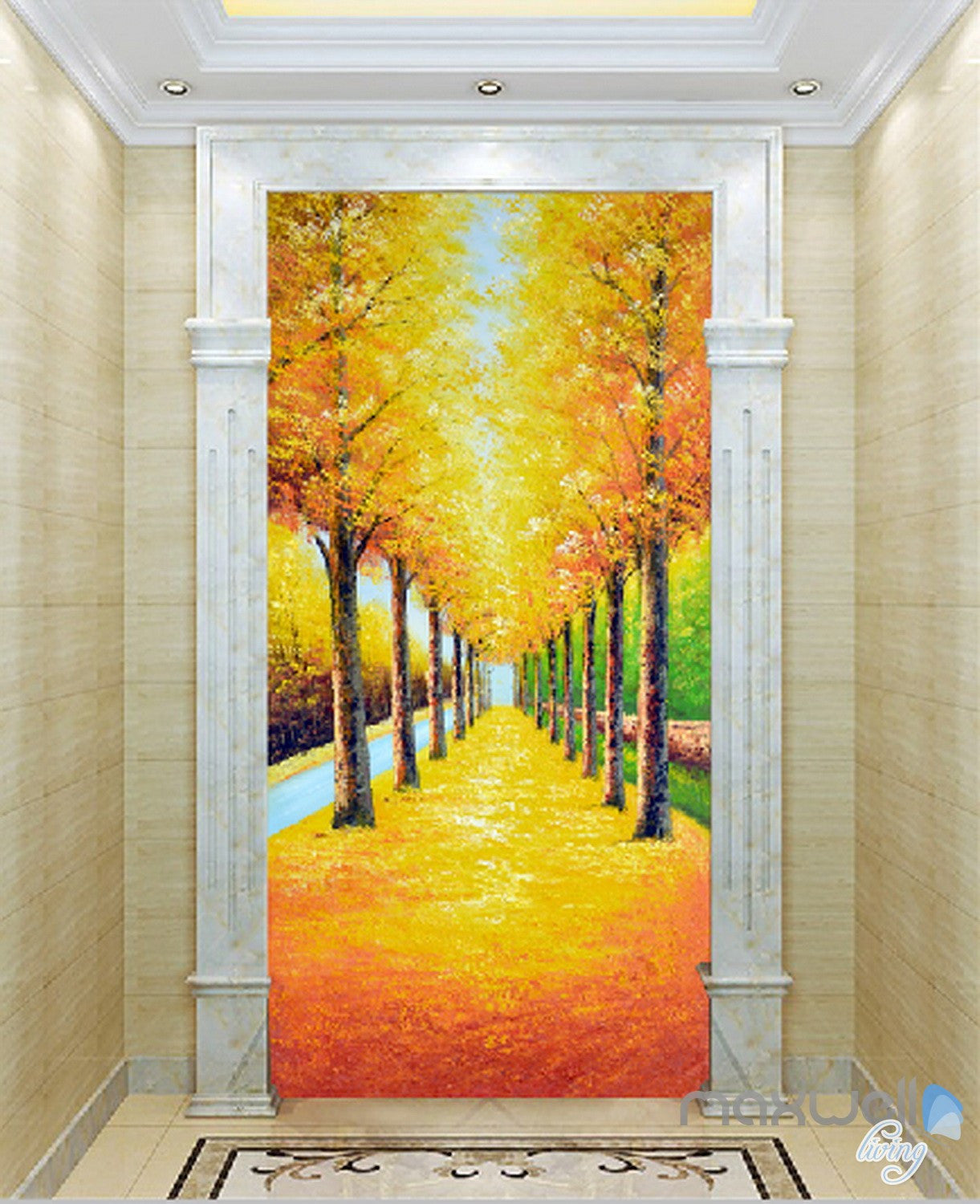 3D Yellow Leaves Tree Corridor Entrance Wall Mural Decals Art Print ...