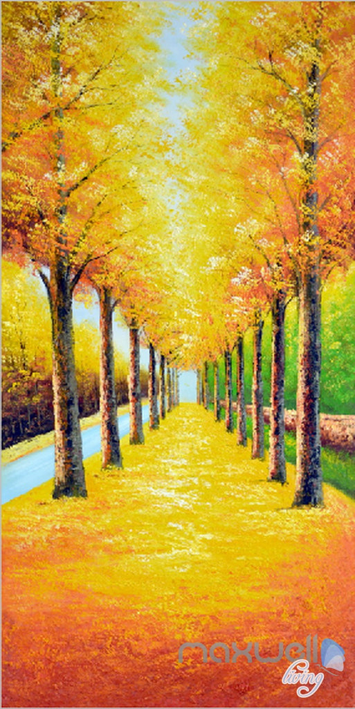 3D Yellow Leaves Tree Corridor Entrance Wall Mural Decals Art Print Wallpaper 070