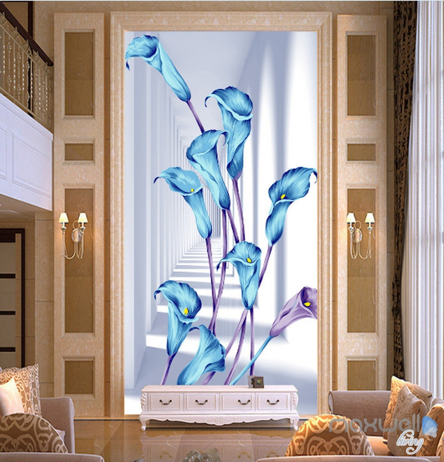 3D Blue Flowers Corridor Entrance Wall Mural Decals Art Print Wallpaper 071 Part 58