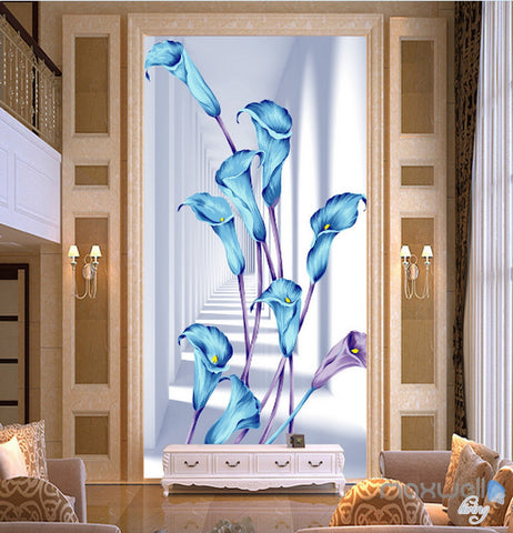 3D Blue Flowers Corridor Entrance Wall Mural Decals Art Print Wallpaper 071