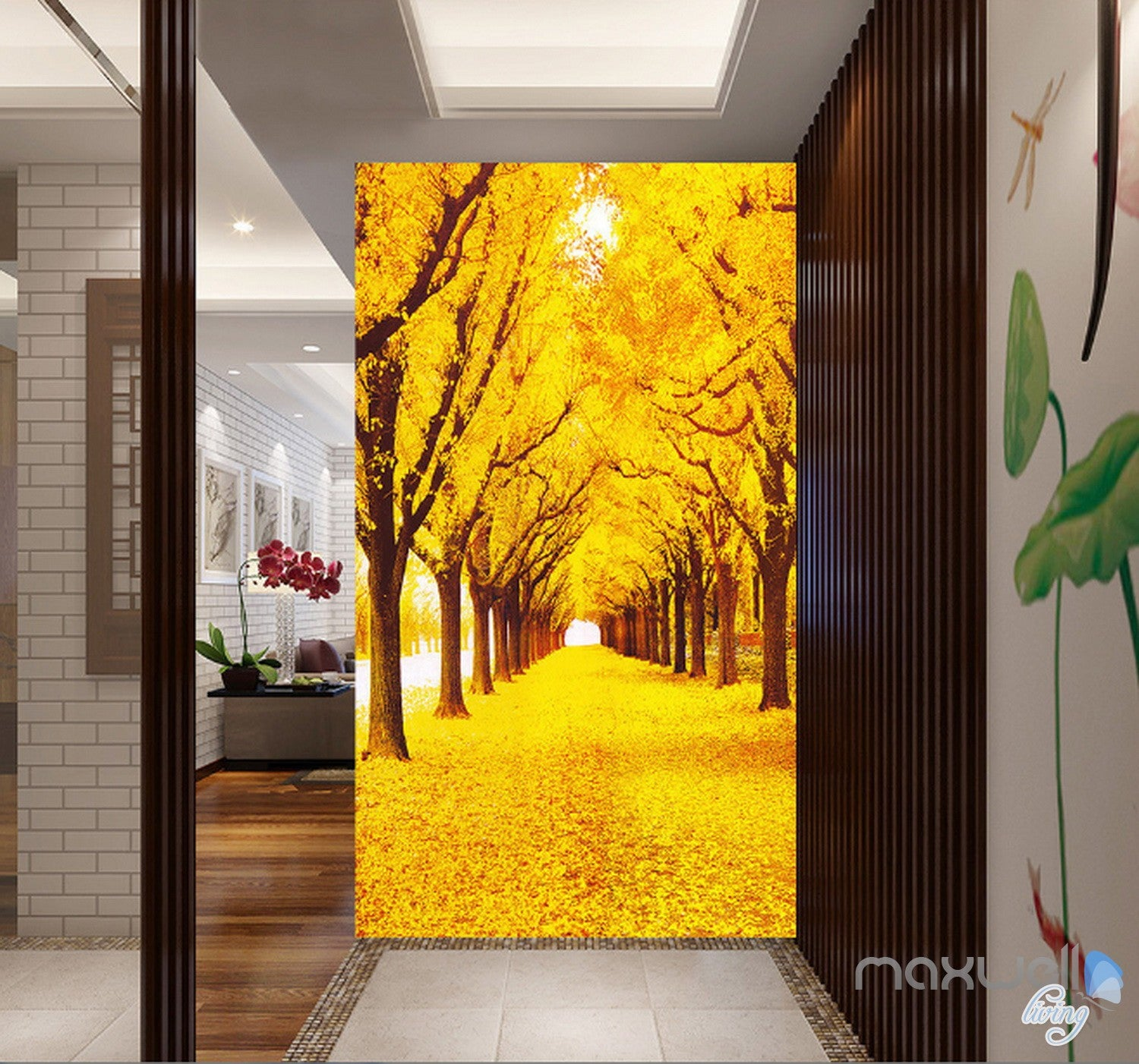 3D Yellow Leaves Fall Tree Corridor Entrance Wall Mural Decals Art ...