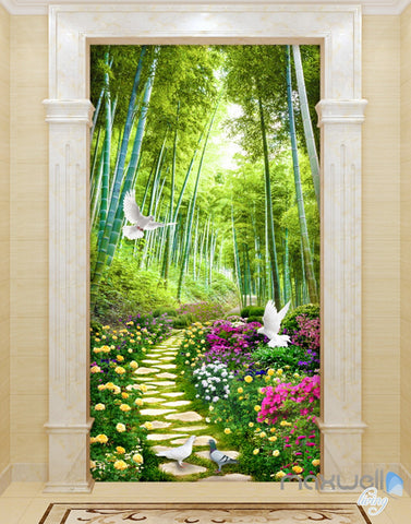 3D Flowers Birds Lane Forest Tree Corridor Entrance Wall Mural Decals Art Print Wallpaper 075
