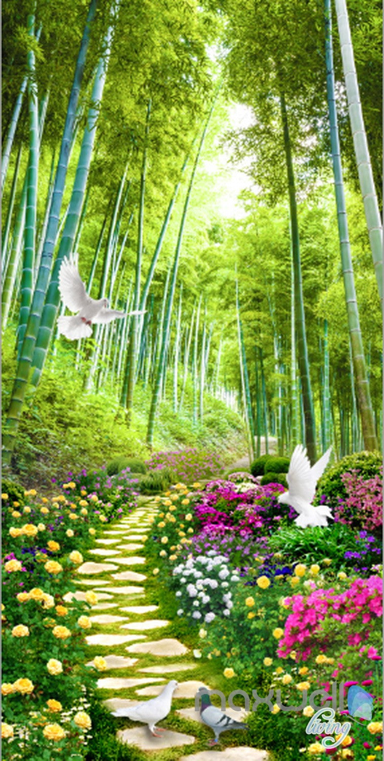 3d flowers birds lane forest tree corridor entrance wall mural