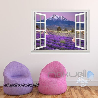 Image of Lavender Flower Mountain 3D Window View Removable Wall Decals Stickers Home Decor Kids Art Mural
