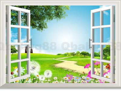 Flying Dandenlion Flower 3D Window View Removable Wall Decals Vinyl art Home Decor Wall Stickers Mural