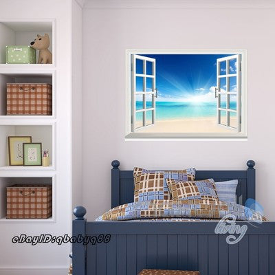 Sunrise Beach Clouds Ocean 3D Window View Removable Wall Decals Home decor Room Stickers Mural Wall Arts
