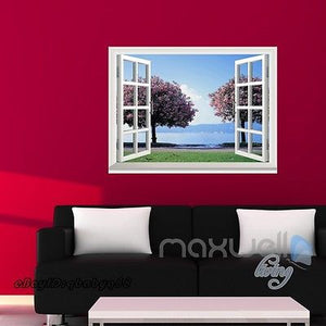 Cherry Blossom Tree 3D Window View Removable Wall Decals Stickers Art Home Decor kids Mural