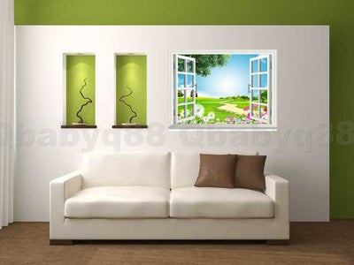 Flying Dandenlion Flower 3D Window View Removable Wall Decals ...
