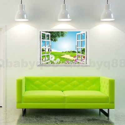 Image of Flying Dandenlion Flower 3D Window View Removable Wall Decals Vinyl art Home Decor Wall Stickers Mural