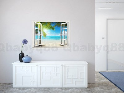 Large Sunshine Beach Palm Tree 3D Window View Removable Wall Decals Stickers Home Decor Arts Mural