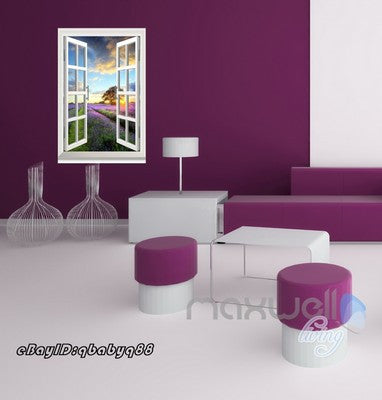 Image of Lavender under Sunset Tree 3D Window View Removable Wall Decals Stickers Home Decor Arts Wall Mural