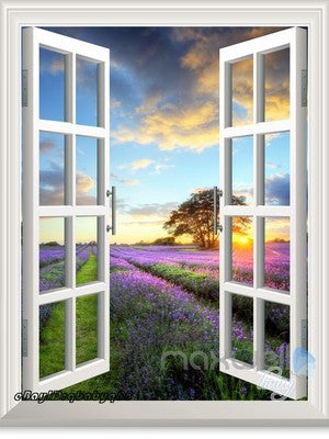 Lavender under Sunset Tree 3D Window View Removable Wall Decals Stickers Home Decor Arts Wall Mural
