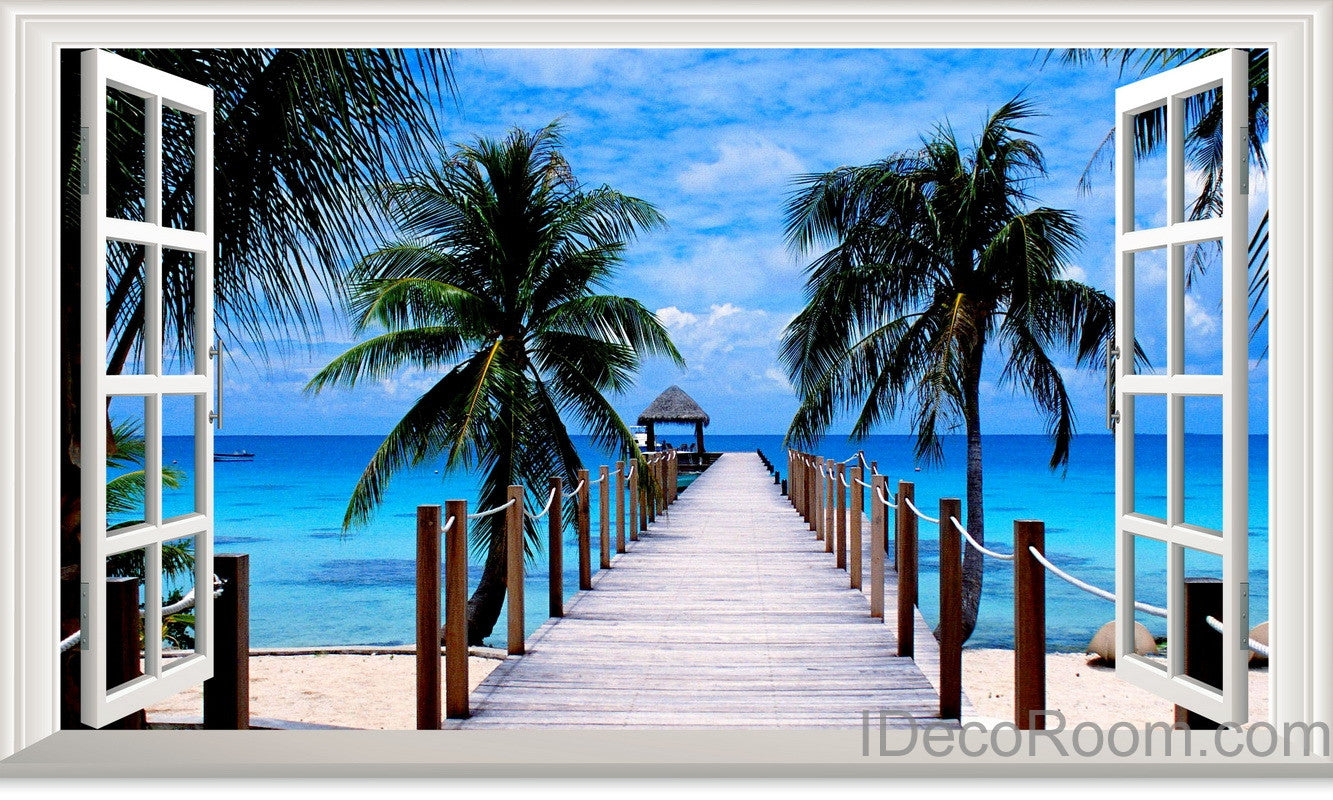 Palm Tree Beach Tropical Ocean Pier 3d Window View Removable Wall Decals Stickers Art Home Decor