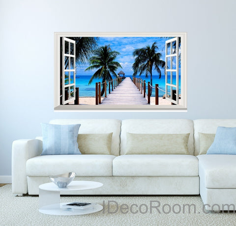 Image of Palm Tree Beach Tropical Ocean Pier 3D Window View Removable Wall Decals Stickers Art Home Decor kids Mural