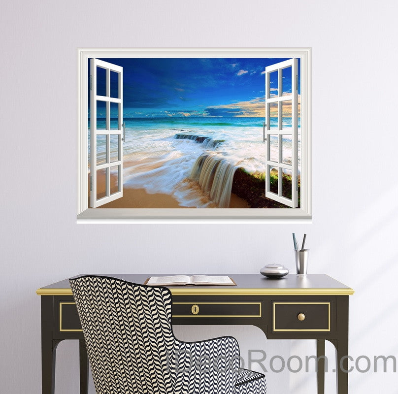 Beach Tide Ocean Cloud Blue Sky 3D Window View Wall Decals Wall Art Stickers Home Decor Gift