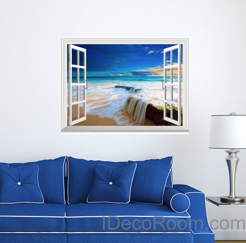 Image of Beach Tide Ocean Cloud Blue Sky 3D Window View Wall Decals Wall Art Stickers Home Decor Gift