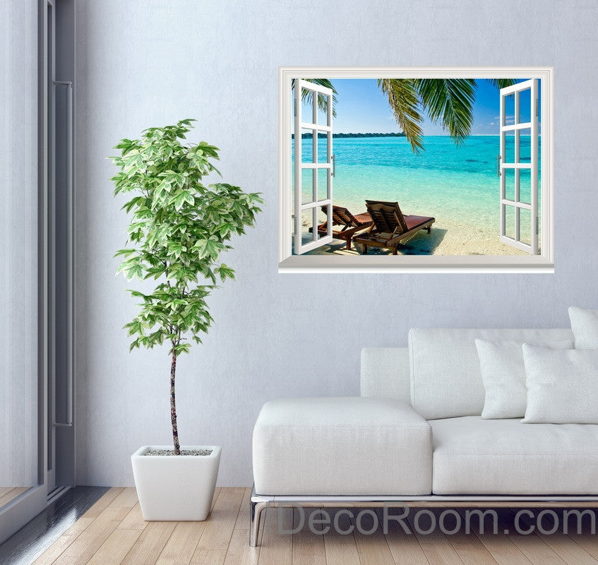 Palm tree sunshine coast 3d window view wall decals removable stickers home living room decor wall