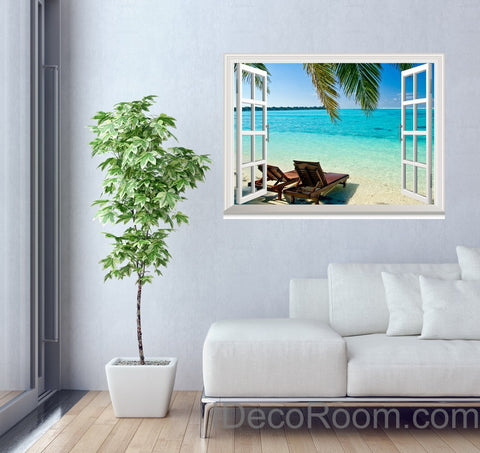 Image of Palm Tree Sunshine Coast 3D Window View Wall Decals Removable Stickers Home Living Room Decor Wall Arts