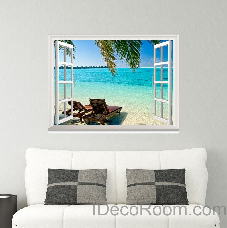 Palm Tree Sunshine Coast 3D Window View Wall Decals Removable Stickers Home Living Room Decor
