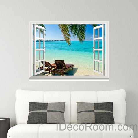 Palm Tree Sunshine Coast 3D Window View Wall Decals Removable Stickers Home Living Room Decor Wall Arts