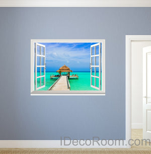 Tropical Beach Pier Long Jetty 3D Window Wall Decals Removable Wall Arts Stickers Home Decor Gift