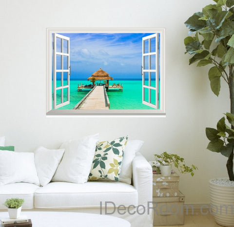Image of Tropical Beach Pier Long Jetty 3D Window Wall Decals Removable Wall Arts Stickers Home Decor Gift