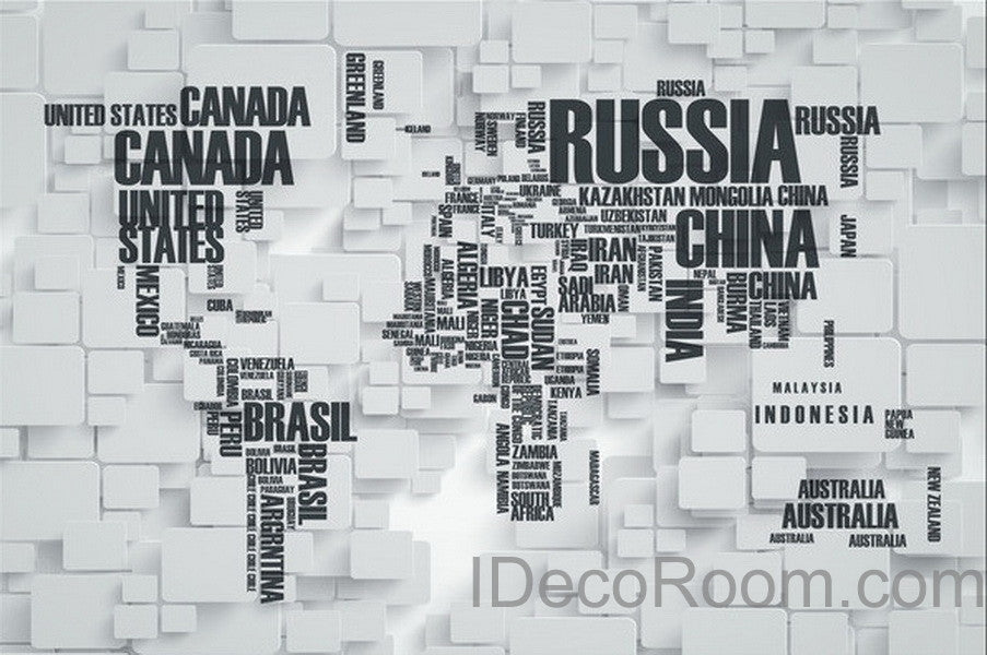 3D Abstract World Map Wallpaper Wall Decals Wall Art Print Wall Mural Home Decor Indoor Office & 3D Abstract World Map Wallpaper Wall Decals Wall Art Print Wall ...