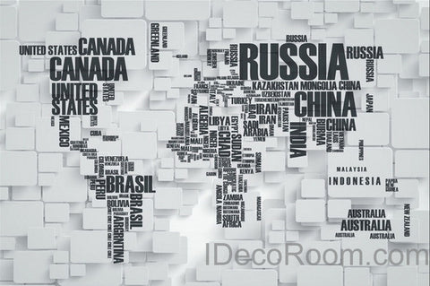 3D Abstract World Map Wallpaper Wall Decals Wall Art Print  Wall Mural Home Decor Indoor Office Business Deco