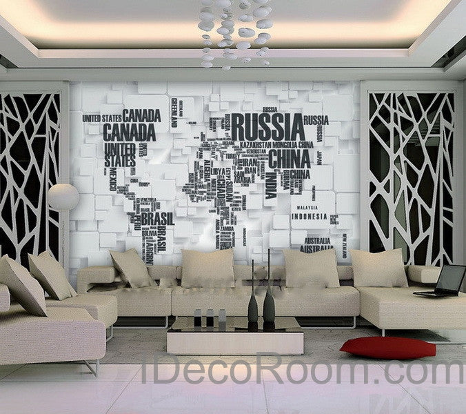 3d abstract world map wallpaper wall decals wall art print for Wallpaper design for office wall