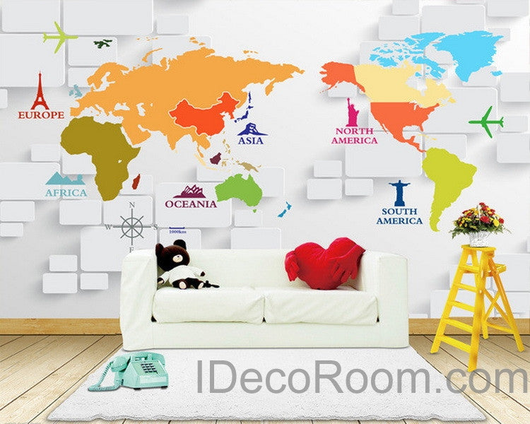 3d Abstract World Map Sign Wallpaper Wall Decals Wall Art Print Wall