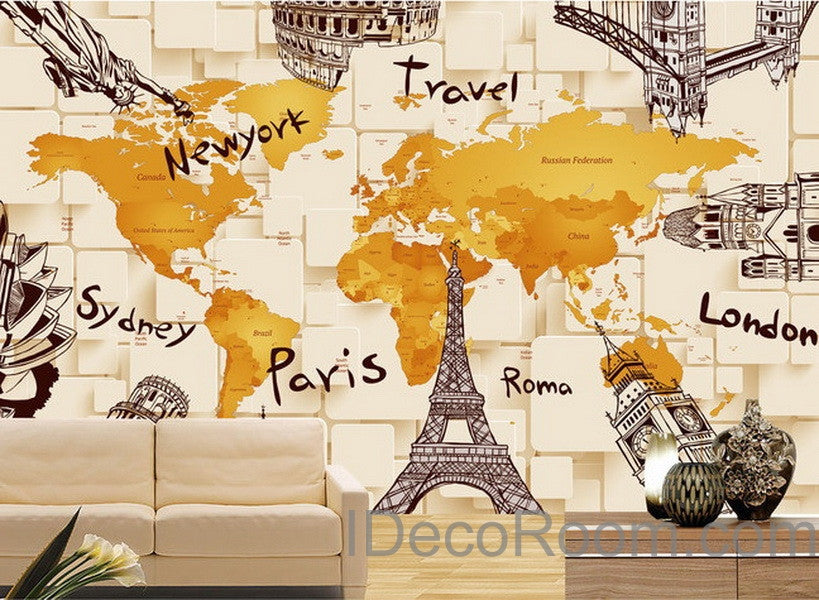 D Architecture World Map Wallpaper Wall Decals Wall Art Print Mural - 3d world map wall art