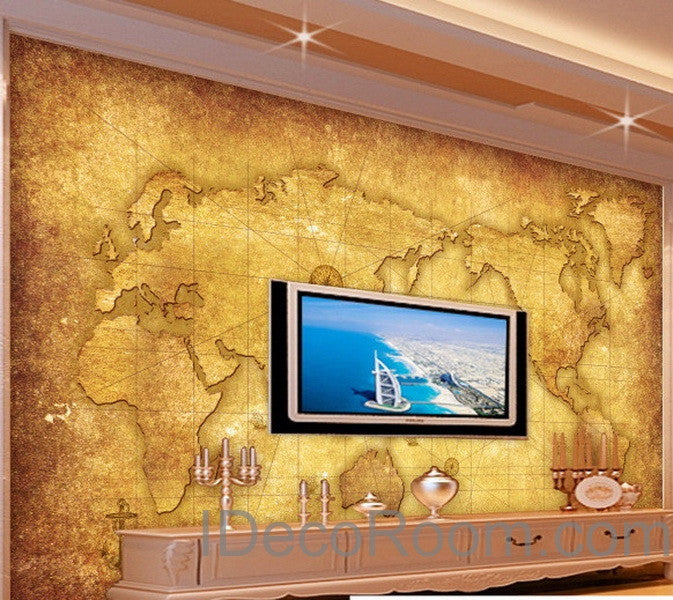 3D Classic Navigation World Map Wallpaper Wall Decals Wall Art Print ...