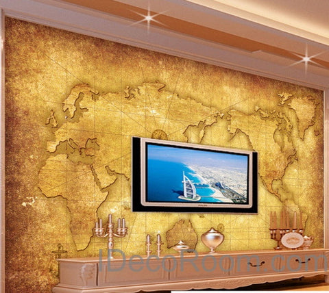 3D Classic Navigation World Map Wallpaper Wall Decals Wall Art Print Mural Home Decor Indoor Office Business Deco