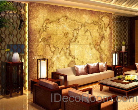 Image of 3D Classic Navigation World Map Wallpaper Wall Decals Wall Art Print Mural Home Decor Indoor Office Business Deco